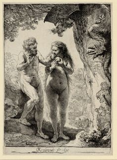 """Rembrandt. """"Adam and Eve""""...love how Eve looks substantial and not like she's suffering from malnutrition!"""