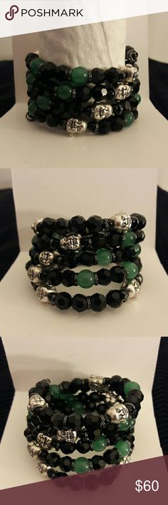 My unisex coil beaded bracelet 2-8mm beaded memory wire bracelet, black onyx, Jade and silver Buddha beads. C. E. S. Creations  Jewelry Bracelets