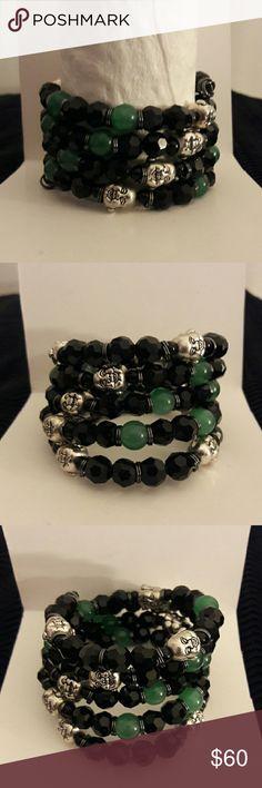 My unisex coil beaded bracelet 2-8mm beaded memory wire bracelet, black onyx, Jade and silver Buddha beads. C. E. S. Creations  Jewelry Bracelets
