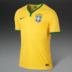 Football Shirts - Nike Brasil Short Sleeve Home Match Jersey - Replica Clothing - Varsity Maize-Pine Green - Size M
