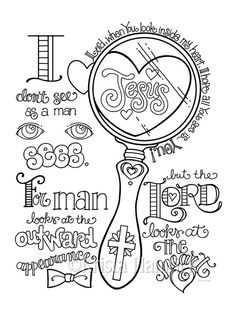 Look in My Heart  coloring page  8.5X11  Bible journaling tip-in  6X8
