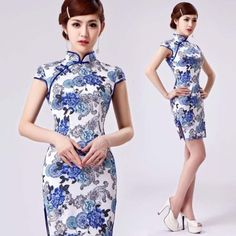 blue pottery floral phoenix print white cotton qipao short mandarin collar dress 001