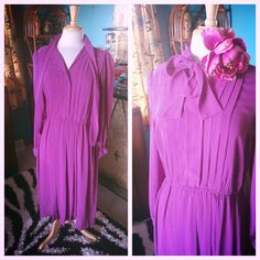 Vintage 1940s style Dress Purple Stripe L XL Swing Rockabilly Pinup 40s #Checkaberry #TeaDress