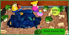 Edible zoo: Play with jello and rice crispies while creating food art suitable for pre schoolers.