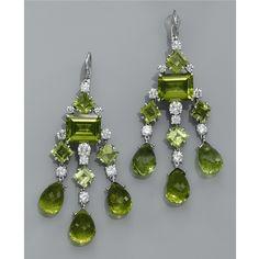 Peridot and Diamond Chandelier Earrings Women's Earrings, Diamond Earrings, Antique Jewelry, Vintage Jewelry, Peridot Jewelry, Fine Jewelry, Jewelry Box, Boho Jewellery, Jewellery Shops