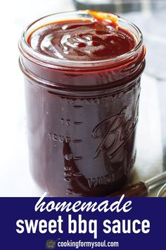 Homemade BBQ sauce is great because you can adjust the ingredients to your own liking. This sweet BBQ sauce is easy, simple, and tasty! Make Bbq Sauce, Homemade Bbq Sauce Recipe, Barbecue Sauce Recipes, Bbq Sauces, Smoker Recipes, Rib Recipes, Easy Homemade Barbecue Sauce Recipe, Best Barbecue Sauce, Recipies