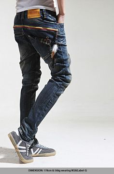Bottoms :: Jeans :: Zipper Deco Hipster Slim Baggy Jeans-Jeans 55 - Mens Fashion Clothing For An Attractive Guy Look