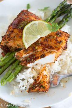 Roasted Chili-Lime Cod #cauliflowerrice #fishrecipes #limebuttersauce #roastedcod #roastedfish #weeknightmeal