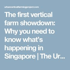 The first vertical farm showdown: Why you need to know what's happening in Singapore | The Urban Vertical Farming Project | Page 2