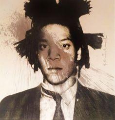 Basquiat Self-Portrait 2013  Unique 29x36  by Mr. Brainwash