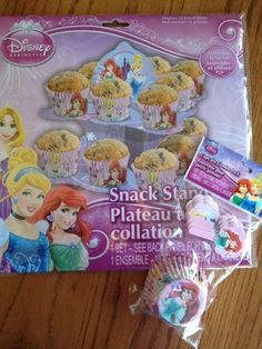 Disney Princess Party Supplies Set - Cupcake/Snack Stand   18 Disney Princess Cupcake Liners W/Bonus Picks! Featuring Cinderella, Ariel & Rapunzel! by Peachtree *** Learn more by visiting the image link. (This is an affiliate link) #partysnacks