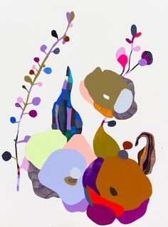 flowers, color, kirra jamison, art, painting