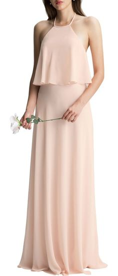 535e67c36be Levkoff   Halter Overlay Chiffon Gown. Bill Levkoff Bridesmaids ...