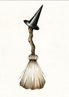 Cute witch broom illustration print by AmandaLaMarco on Etsy, $8.00