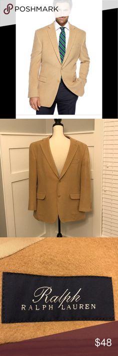 Ralph Lauren Tan Camel Hair Blazer 42r This tan Ralph Lauren 100% camel hair blazer is identical to the cover photo. (Except for the hot guy wearing it!) My husband bought this here and it didn't fit, so this is a re-posh. He had the jacket cleaned for resale.   The jacket is in overall great condition EXCEPT for two small flaws not mentioned by the previous seller. See last two pictures for documentation of small worn areas on shoulder seams.   This really is a nice coat for someone a bit…