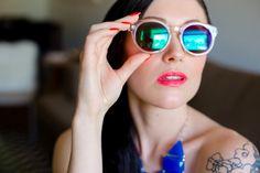 Reflective sun glasses. Photo by @Alejandra Vidal / Imaginale Design, Makeup by @Stephanie Neiheisel, Styling by AVE Styles