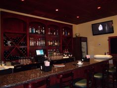 These Stratford Merlot Ceilume Ceiling Tiles add so much character to this California Italian restaurant bar!