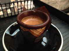 Espresso Shots in Miniature Chocolate-Rimmed Cones.