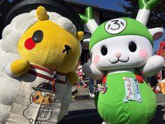 ジンくんとぉ♪もふもふコンビ〜♪Y(o0ω0o)Y #hikone2015 #jingisu_jin #fukkachan