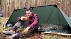 Solo Camping in the Forest  - Fire Reflector, Tarp, Camp Fire, Axe and K...