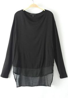 Black Long Sleeve Modal Loose T-Shirt pictures