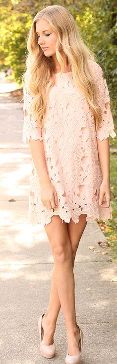 Nude Floral Cutout Shift Mini Dress