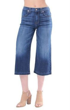 7 For All Mankind Culotte with Released Hem in Brilliant Broken Twill