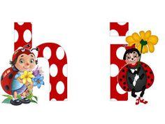 S.T.R.U.M.F.: Litere mari si cifre buburuze Smurfs, Alphabet, Minnie Mouse, Collage, Disney Characters, Ladybugs, Reptiles, Art, Wall