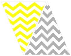 printable: grey and yellow chevron bunting