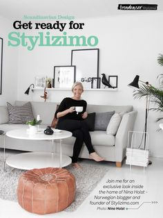 magazine holder, pillow, black floor lamp, rug...love! have the table and we love it!