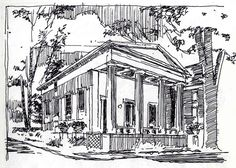 As exemplified in this sketch by James Akers, manipulating the direction and spacing of cross hatching strokes can create a three dimensional scene, without the need for painstaking detail.  Source: Akers, James. 2014. 'Architectural Rendering Technique: The Art Of The Pen And Ink Sketch'. Accessed March 17, 2016. http://www.akersarchitecturalrendering.com/blog/2014/8/21/architectural-rendering-technique-the-art-of-the-pen-and-ink.html