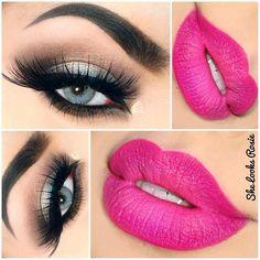 Smokey Eyes with Pink Lips, lipstick # Shadylady