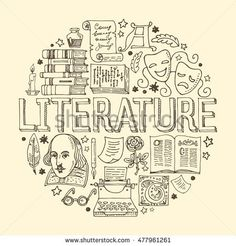 Literature hand drawn vector illustration with doodle .- Gezeichnete Vektorillustration der Literatur Hand mit Gekritzelikonen, -bildern … Literature hand drawn vector illustration with doodle icons, images and objects arranged in a circle – # objects - Notebook Covers, Binder Covers, Doodle Icon, Doodle Art, Doodle Images, School Notebooks, Sketch Notes, School Notes, Cover Pages