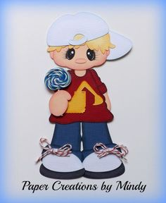ELITE4U lollipop boy Kids summer premade paper piecing scrapbooking page e ~Paper Creations by Mindy