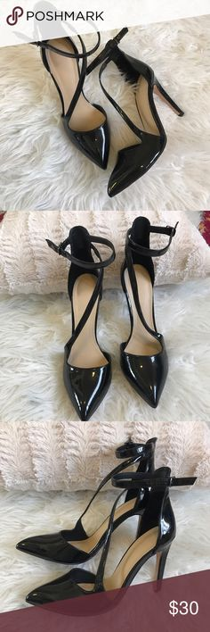 Zara Black patent leather heels Zara black sexy heels size 9  (39) , 4 inch heels, strap at ankle, very gently used. No scuffing, very little visible wear. No trades, thank you for looking! Zara Shoes Heels