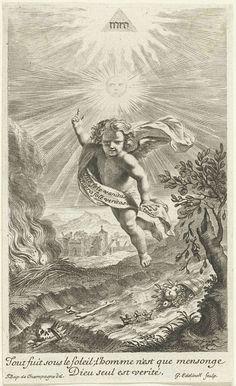 Gerard Edelinck | Vliegende engel, Gerard Edelinck, 1666 - 1707 | Een engel zweeft boven een rivier waarin de hoorn des overvloeds, kronen en botten wegdrijven, hij wijst omhoog naar de zon en de glorie van God erboven. Op de achtergrond een brand en een vervallen stad. Het onderschrift wijst erop dat alleen God waarlijk is.