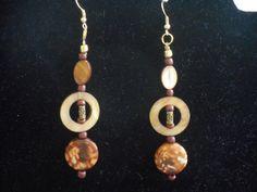 Brown mother of pearl dangling earring by CJhandmadeJewelry