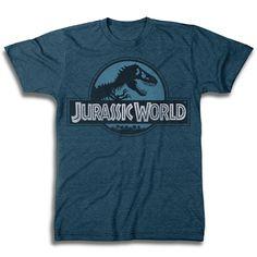 Jurassic World Logo Blue Short Sleeve Men's T-Shirt - TshirtMall.com