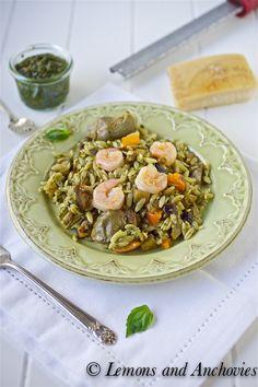 Orzo with Shrimp, Pesto, Eggplant and Artichokes - Lemons & Anchovies @Jean | Lemons and Anchovies