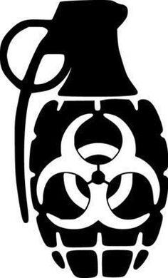 Biohazard Hand Grenade JDM Racing | Die Cut Vinyl Sticker Decal | Sticky Addiction Brass Knuckle Tattoo, Knuckle Tattoos, Racing Stickers, Monster Stickers, Skull Stencil, Stencil Art, Skull Tattoo Design, Silhouette Art, Vinyl Cutting