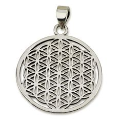 """Classic Flower of Life Pendant Sterling Silver 925 Size 1.2"""" Sacred Geometry #MAGAYA"""