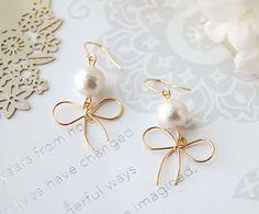 Cotton Pearl & Bow Ribbon Earrings by CharisJewel on Etsy, $18.00