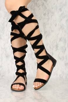 Black Lace Up Gladiator Open Toe Sandals Velvet Lace Up Gladiator Sandals, Open Toe Sandals, Flat Sandals, Shoes Sandals, Heels, Get The Look, Take That, Fashion Ideas, Velvet