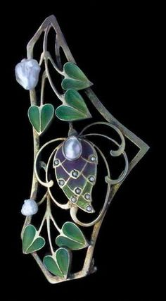 Jugendstil Plique-à-Jour Enamel, Pearl, and Gilded Silver Brooch
