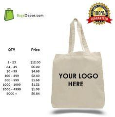 CUSTOM PRINTED Cotton tote bag any logo wording team work promotional