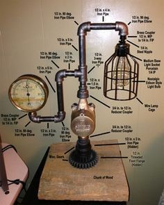 Steampunk Lamp Diagram with all parts identified. Steampunk Lamp Diagram with all parts identified. Lampe Steampunk, Steampunk Diy, Industrial Pipe, Industrial Lighting, Vintage Industrial, Industrial Office, Modern Industrial, Modern Lighting, Lighting Ideas