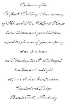 50th wedding anniversary invitation wording
