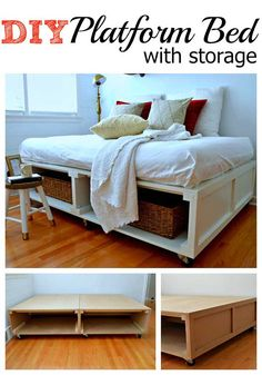 How to build a DIY platform bed frame with tons of storage and wheels for added mobility, for a small bedroom. Diy Platform Bed Frame, Platform Bed With Storage, Bed Platform, Bed Frame With Storage, Diy Bed Frame, Bed Storage, Bed Frames, Bedroom Storage, Small Storage