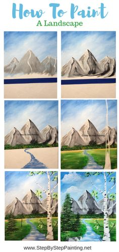 How To Paint A Landscape - How To Paint A Landscape Learn how to paint a mountain landscape with this step by step canvas painting tutorial for beginners. Canvas Painting Tutorials, Painting Lessons, Diy Painting, Matte Painting, Painting Flowers, Sketch Painting, Gouache Painting, Easy Paintings, Landscape Paintings