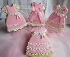 Little Girl's Pink Dresses Sugar Cookies Decorated with Royal Icing.